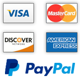 We accept Visa, MC, Amex, Discover, and PayPal